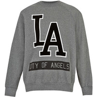 Grey Vintage Oversize LA City Of Angels Printed Sweatshirt - Sale- TOPMAN USA