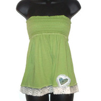 Spring Green Romantic Summer Tube Top Juniors Clothing XS
