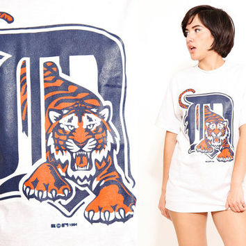 Detroit Tigers Light Gray T Shirt Vintage 90s Baseball Jersey