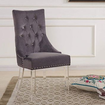 Gobi Modern And Contemporary Tufted Dining Chair In Gray-Armen Living