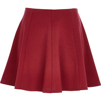 River Island Womens Dark red skater skirt
