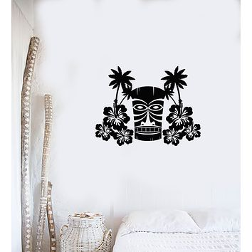 Vinyl Wall Decal Hawaiian Flowers Tree Palms Mask Tiki Bar Hawaii Art Interior Stickers Mural (ig5978)