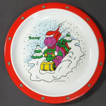 90s Barney Baby Bop Christmas Melamine Kids Plates Set of 2 Vintage Children's Holiday Purple Dinosaur Plastic Dishes