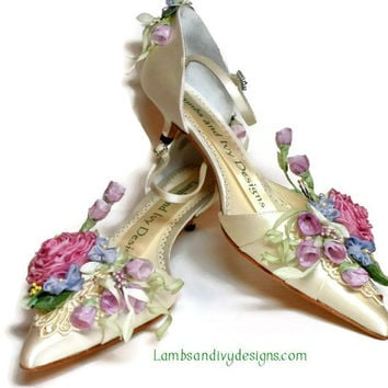 Bride's Princess Kitten Heel  Ribbon Flower Bride's Shoes Weddings
