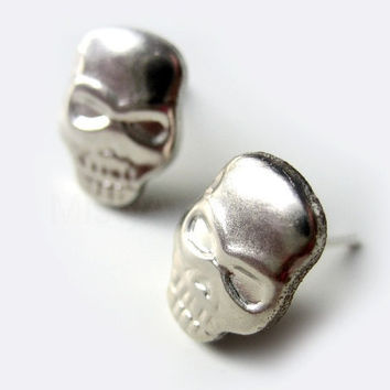 Skull Earrings Silvery Skull Jewelry Everyday Jewelry Free Shipping Free Shipping Etsy