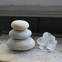 Natural Lake Stone Mini Cairn , Zen Decoration , Beach / Coastal Home Decor , Rock Paperweight