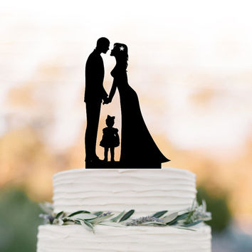 Family Wedding Cake topper with little girl, funny wedding cake toppers with child, cake topper bride and groom silhouette