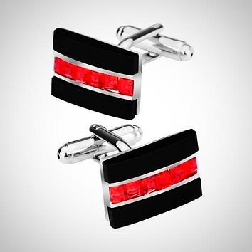 Black Onyx Red Crystal Cuff link