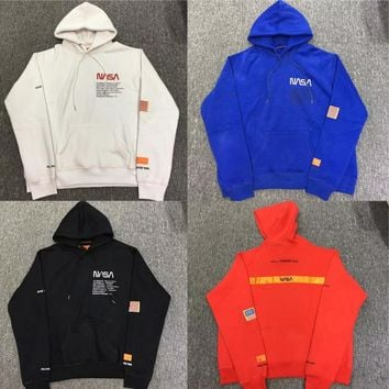 2018 New Heron Preston Sweatshirts Streetwear Cotton Embroidery Heron Preston Hoodie Red Blue Astronaut Heron Preston Pullover