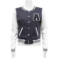 Clothes Effect Charcoal White Ladies Jersey Letterman a Jacket