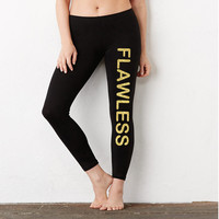 FLAWLESS (gold ink) | Ladies' Cotton/Spandex Legging