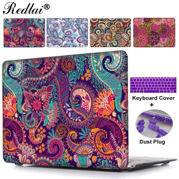 Redlai Paisley Plastic Hard Case with Dust Plug & Keyboard Cover For Macbook Air 11 13 Pro 13 15 Retina Touch bar Laptop Case