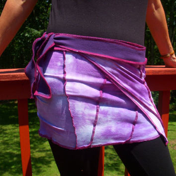 Hand Died Yoga Dance Wrap Patchwork Cover-up Mini Skirt Purple/Blue One Size