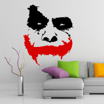 "Scary Joker Face ""Why So Serious?"" from Movie Batman: The Dark Knight, Vinyl Wall Decal, Removable Art Decor Sticker DIY Mural for Fridge."