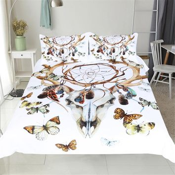 3d butterfly dream catcher 1pc duvet cover and 2pcs pillow cases bedding set twin full queen king size