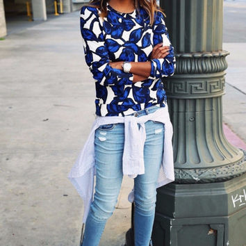 Blue Print Pullover