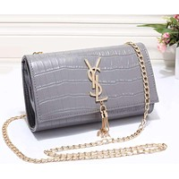YSL Yves Saint Laurent Women Shopping Leather Metal Chain Crossbody Shoulder Bag Satchel
