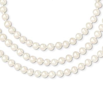 14K Yellow Gold 6-6.5mm 3 Strand FW Cultured Pearl Necklace 18 Inch