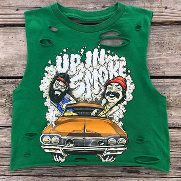 CHEECH & CHONG Green Rebel Fray Custom Distressed Tank Top Shirt Women's S