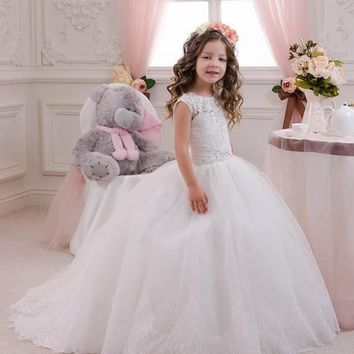 2016 White/Ivory Princess Lace Beading Ball Gown Flower Girl Dresses for Birthday wedding party first communion dress for girl