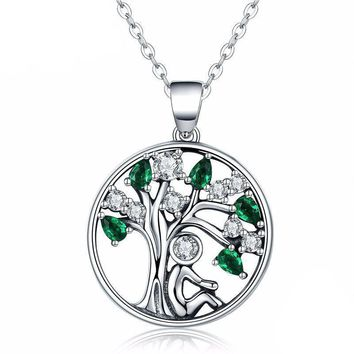 925 Sterling Silver Tree of Life with Clear Green CZ Pendant Necklaces