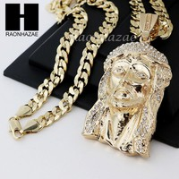 HIP HOP ICED OUT JESUS FACE PENDANT & DIAMOND CUT CUBAN LINK CHAIN NECKLACE N33