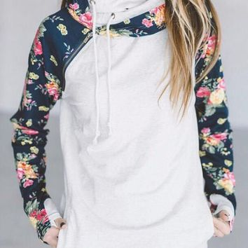 White Floral Print Cowl Neck Double Hooded Long Sleeve Fashion Pullover Sweatshirt