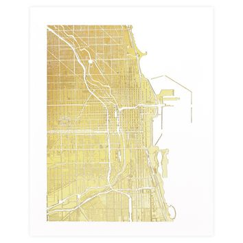 Gold Foil Chicago Print