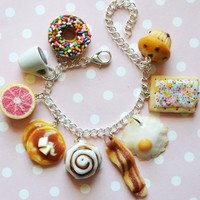 Breakfast foods charm bracelet