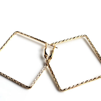 """Square Deal"" Gold Square Hoop Earrings"