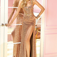 Alyce Prom 6239 Sequin Jewel High Slit Halter Dress