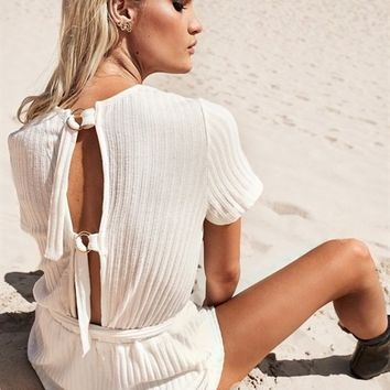 Passion Ribbed Playsuit - Playsuits by Sabo Skirt