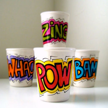 Ceramic Cups Set of Four Hand Painted Comic Book Sound Fx Geekery Super Hero Drinkware Sake - READY TO SHIP