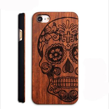 Slim Wood Phone Case For iPhone 8 Carved Retro Pattern Wooden Hard Cases Cover Shell For iPhone 8 Plus 7 7 Plus Drop Shipping