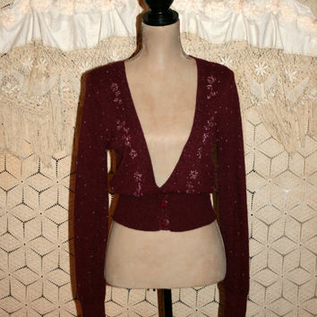Vintage Angora Sweater 90s Cropped Cardigan Edwardian Dark Red Beaded Cardigan Deep V Neck Christmas American Eagle XS Small Womens Clothing