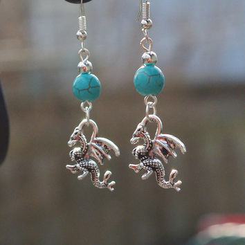 Turquoise Welsh Dragon Earrings ~ Stone Dangle Earrings ~ Dragon Jewellery ~ Birthday Gift ~ Anniversary Gift ~ Gift for Wife ~ Girlfriend