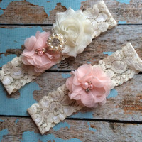 PINK BLUSH flower / IVORY chiffon / wedding garter set / bridal garter/ lace garter / toss garter included / wedding garter
