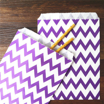 25pcs Paper Bag flat Wedding Party Favor Candy Gift Bags Food Packaging  purple Treat Craft Paper Popcorn Bags Food Safe chevron
