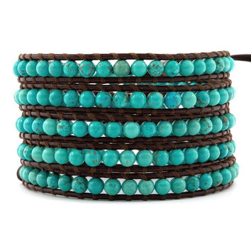 CHAN LUU ~ Turquoise Stone Leather Wrap