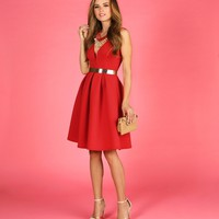 Sale-red Happily Ever After Scuba Midi Dress