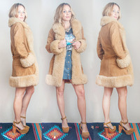 70s Suede Shearling Penny Lane Coat Size S M | Womens Vintage Camel Sheepskin Leather Fur Trim Hippie Jacket Parka | Leather Fur Winter Coat
