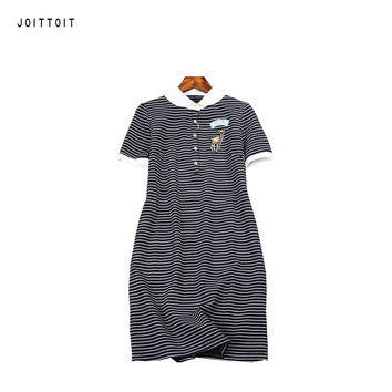 Women Summer Dress Ladies Peter Pan Collar Black White Stripe A Line Dresses Embroidery Letter Short Sleeve Plus SIze Slim Dress