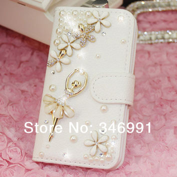 Ballet girl lucky grass pearl frame about spending card phone protection holster Case for iphone 4 or 4s / 5S / 5G free shipping
