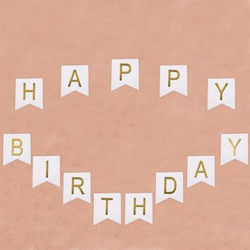 Paper Garland Flags Bunting Banner Baby Kids Happy Birthday Celebration Photo Props Birthday Party Decoration