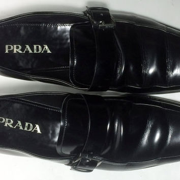 Prada Black Leather Loafers Slip Ons Shoes Men's Size 9.5