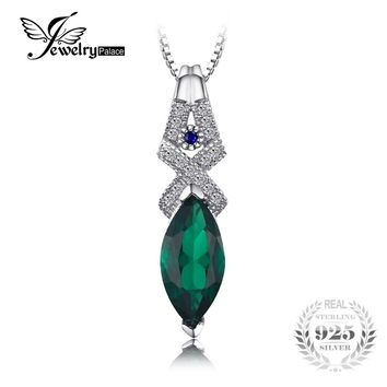 JewelryPalace Luxury 5.45ct Created Emerald & Blue Spinel Pendants 925 Sterling Silver Vintage Fine Jewelry Not Include a Chain