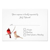 Stylish Red Cardinals Wedding RSVP Card Announcements
