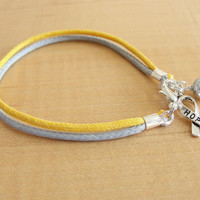 Gold and Silver Awareness Cotton Bracelet / Anklet - Hearing Disorders, Meniere's Disease, Tinnitus