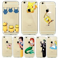 Funny Cartoon Pokemons Go Pikachue Case for coque iphone 8 7 Plus iphone7plus Phone Cases Transparent SpongeBob Minion Capinhas
