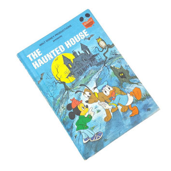 Walt Disney The Haunted House Book, Vintage 1970s Childrens Halloween Story, Mickey Mouse Donald Duck Pluto, Wonderful World of Reading #33